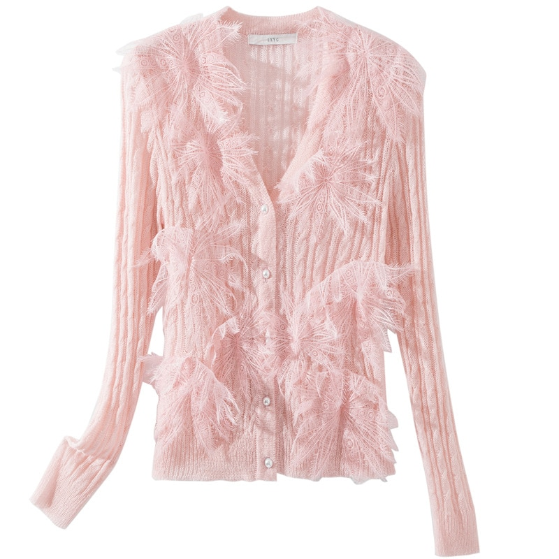 Fashion Slim Fit Autumn and Winter Women's New Style Big Flower Stitching Open Lining Button Knit Sweater Top enlarge