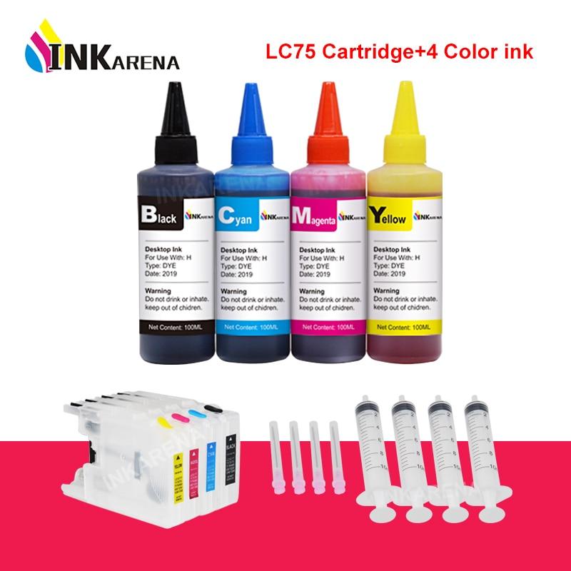 Inkarena 4 kit de reenchimento tinta da impressora + lc400 lc1220 lc1240 cartucho tinta para o irmão lc73 J960DN-B J960DN-W J960DWN-B J960DWN-W