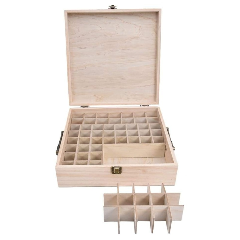 صندوق تخزين خشبي للزيوت الأساسية ، منظم زجاجات ، 62 شبكة ، جديد ، 2021
