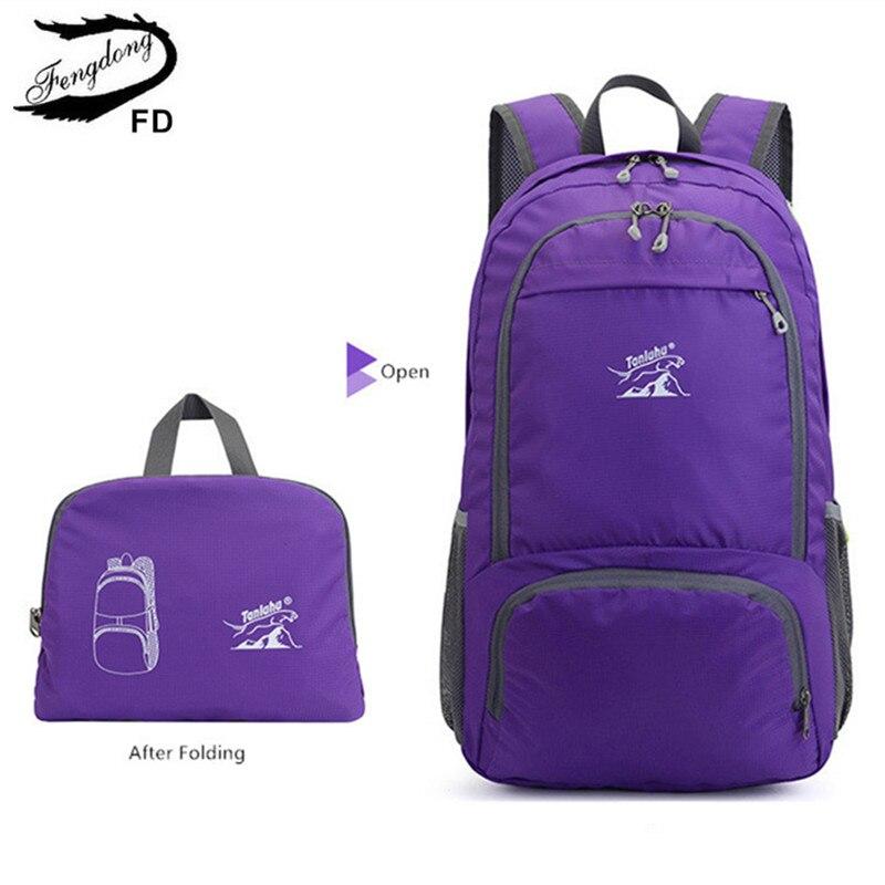 Женский спортивный рюкзак Fengdong, черный водонепроницаемый складной рюкзак с большой вместимостью, для путешествий, осень