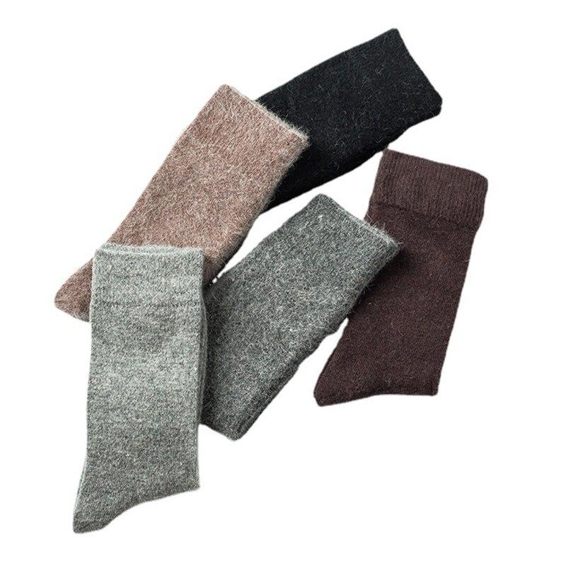 Мужские носки, зимние супертеплые однотонные шерстяные мужские носки, толстые шерстяные носки