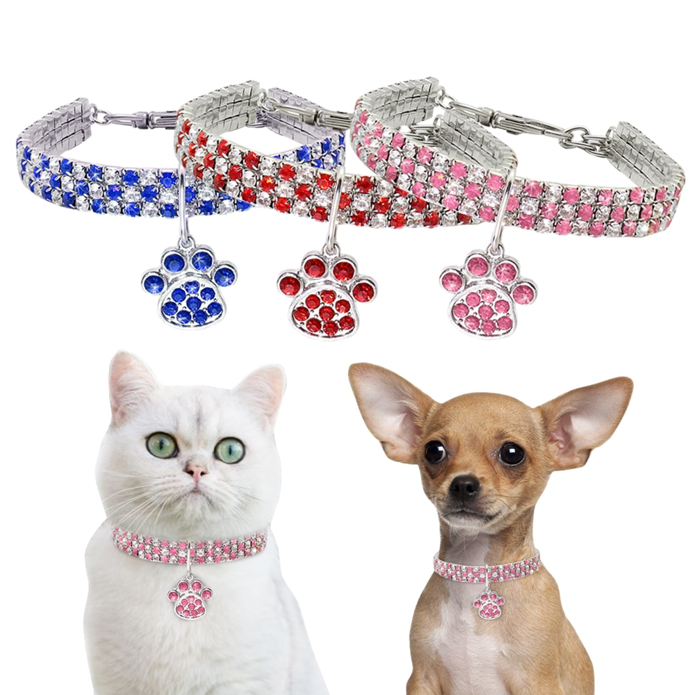 Collar para perro y gato con diamantes de imitación, Collar para perro de diamantes para perros pequeños, Collar con joyas para cachorros y gatitos, accesorios para mascotas