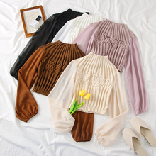 Spring Women Sweater Pullovers Blouse Turtleneck Chiffon Short Autumn Knitting Sweaters Long Sleeve Jumper Top
