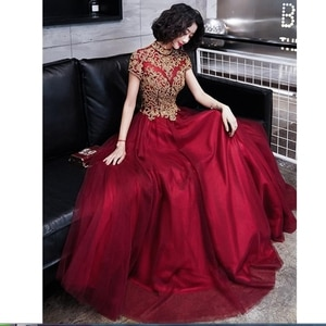 Evening Dress Sexy Stand-up collar Robe De Soiree Applique Women Party Dresses Short Sleeve Elegant Formal Evening Gowns robes