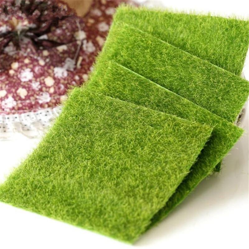 4 шт. 15x15 см Коврик для травы зеленый искусственный газон ковры искусственный сад мох для дома пол свадебное украшение