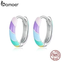 bamoer authentic silver dazzle earrings 925 sterling silver candy colors earrings gift for girl statement fasion jewelry gxe1085
