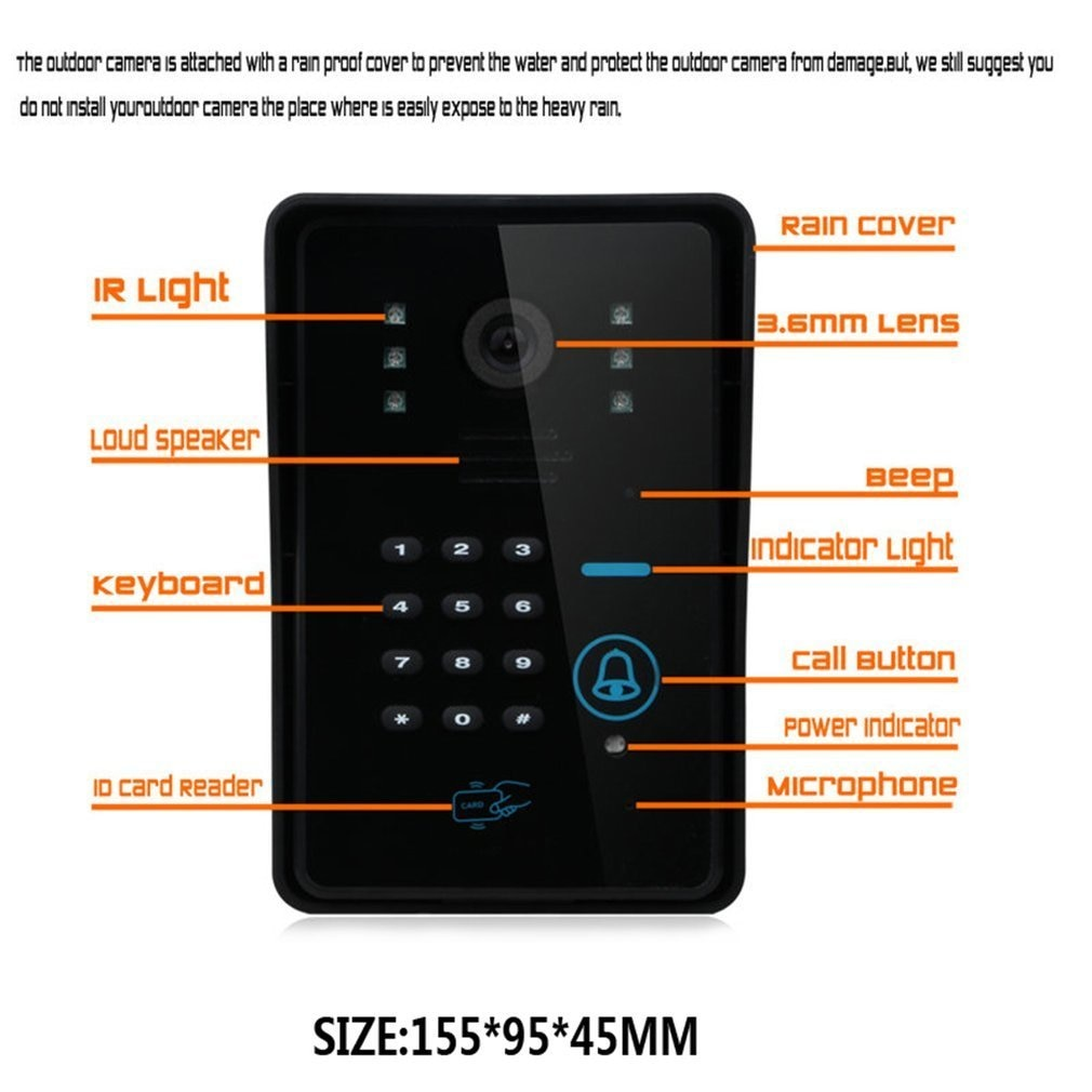 7 inch Color HD Touch Screen Wired RFID Password Video Door Phone Doorbell With IR Camera 200M Remote Control Free shipping enlarge