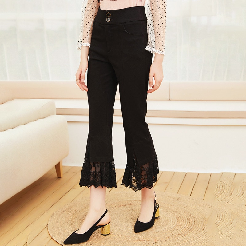 2021 spring and summer new style ladies' temperament fashionable lace splicing trumpet leg mid waist