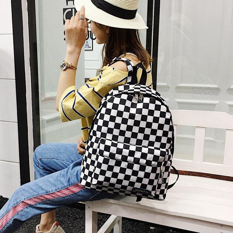 2019 unisex plaid nylon female travel backpack laptop schoolbag schoolbag school leisure outdoor sports bag