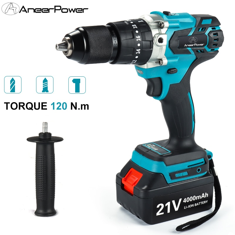 13MM Chuck Brushless 21V Ice Fishing Electric Impact Drill Cordless Screwdriver 2 Battery For Makita Lithium Battery Tools Power