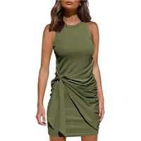 women fashion 2021 sleeveless ruched drawstring summer casual office outfits ladies bodycon wrap mini short party club dress
