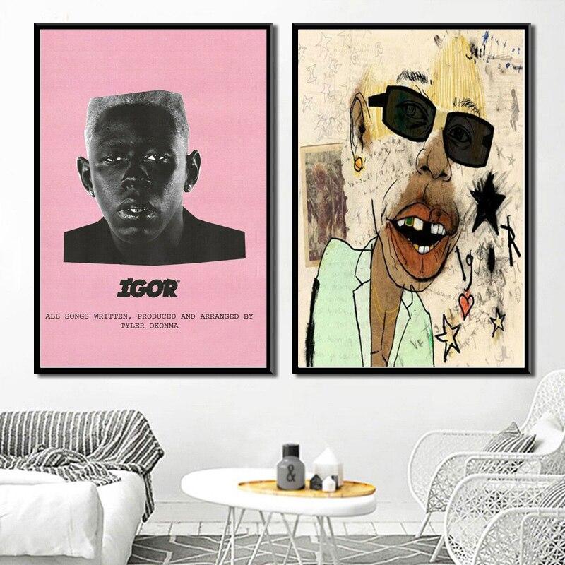 Cartel de huellas y caliente Tyler the Creator Igor 2019 música Rap álbum estrellas de la lona de la pared del arte de la pared pintura fotos quadro cuadros