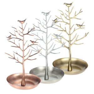 Metal Tree Jewelry Stand Display Rack Earring Necklace Ring Holder Organizer Color:Vintage Silver