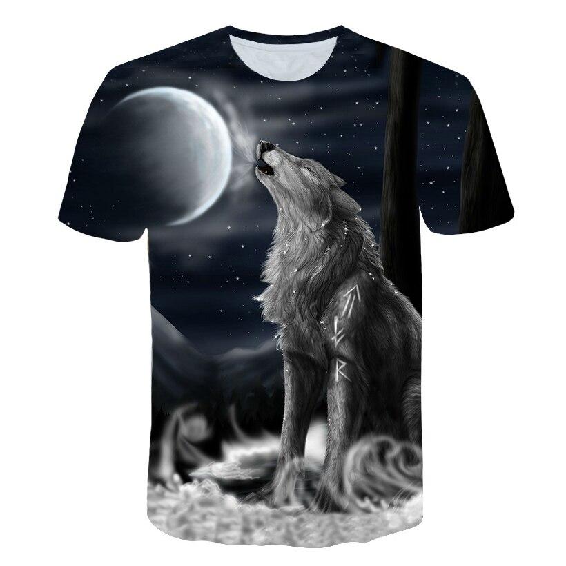 Новая модная футболка для мальчиков с 3D рисунком волка, женская футболка с коротким рукавом и принтом животных, повседневная одежда