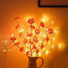Thrisdar Rose fleur Led guirlande lumineuse 20LED S arbre de noël vigne branche lumière vacances mariage noël fée guirlande lumineuse
