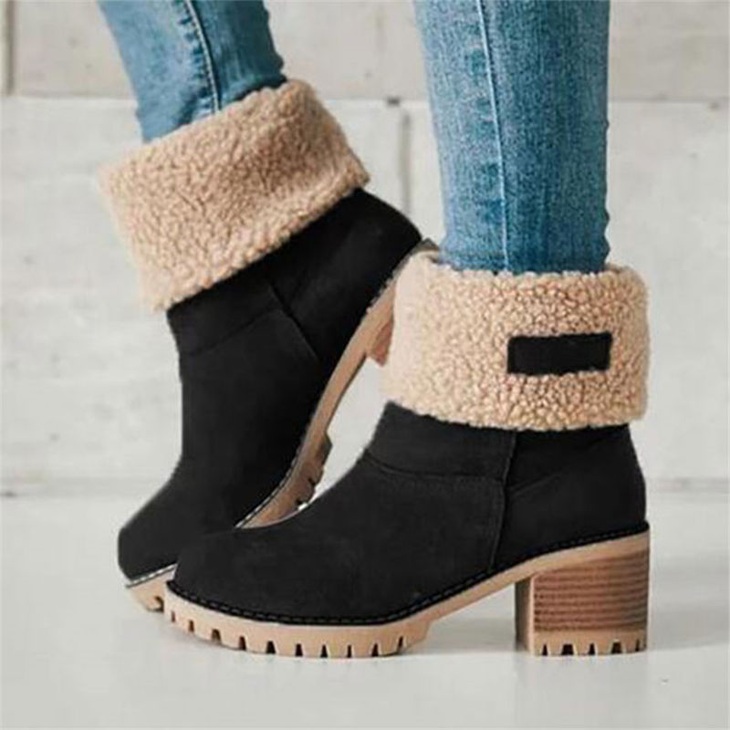 Women Winter Fur Warm Snow Boots Ladies Warm wool booties Ankle Boot Comfortable Shoes plus size 35-