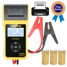 AUTOOL BT660 тестер аккумулятора батареи нагрузочная вилка 12 В автомобильный тестер батареи Анализатор диагностический инструмент с термопринтером принтер