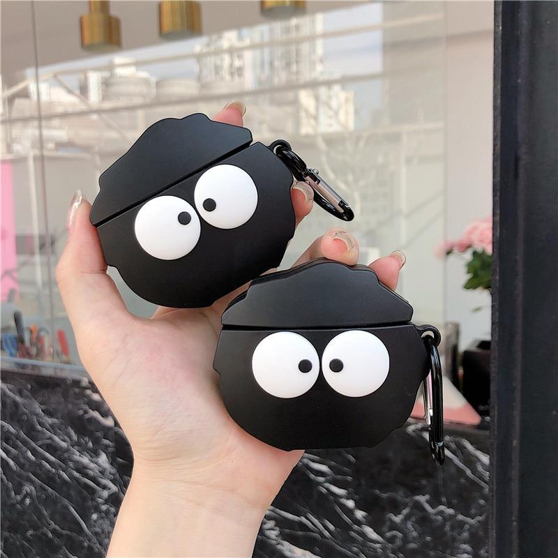Cute Cartoon Black Coal Ball Headphone Cases For Apple Airpods 1 2 Silicone Earphone Cover