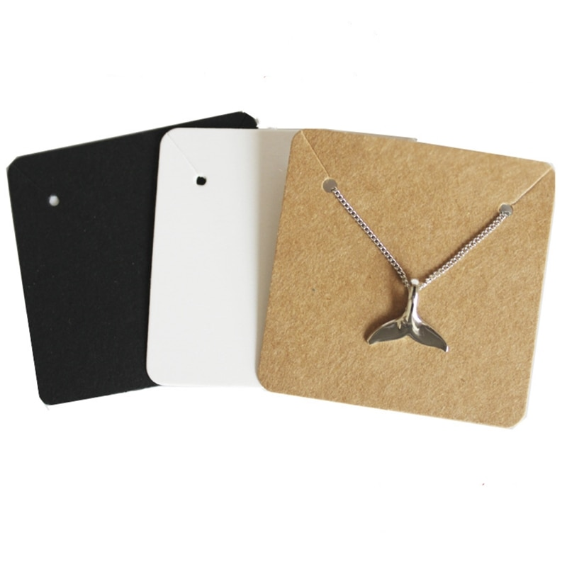 5*5cm 50 pçs colorido quadrado em branco kraft papel colar de jóias cartões etiquetas etiqueta artesanal diy acessórios atacado