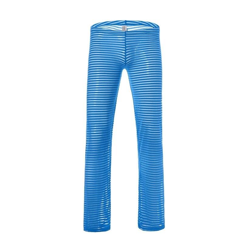 Сексуальные мужские% 27 лет прозрачные длинные брюки повседневные домашняя одежда дышащая прозрачная сетка пижамы брюки мягкие полосатые леггинсы нижнее белье