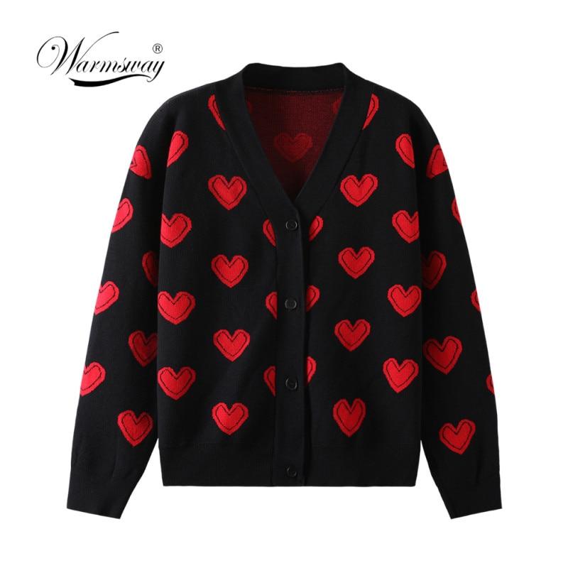 الحب القلب نمط الدافئة سترة جاكيتات 2021 الربيع الخريف المرأة أنيقة الحياكة خمر V الرقبة فضفاضة سميكة سترة معطف C-110