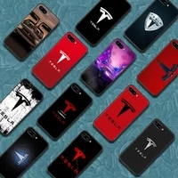 tesla car logo phone case cover hull for huawei honor 6a 7a 7c 8 8a 8s 8x 9 9x 10 10i 20 lite pro black cover tpu coque painting