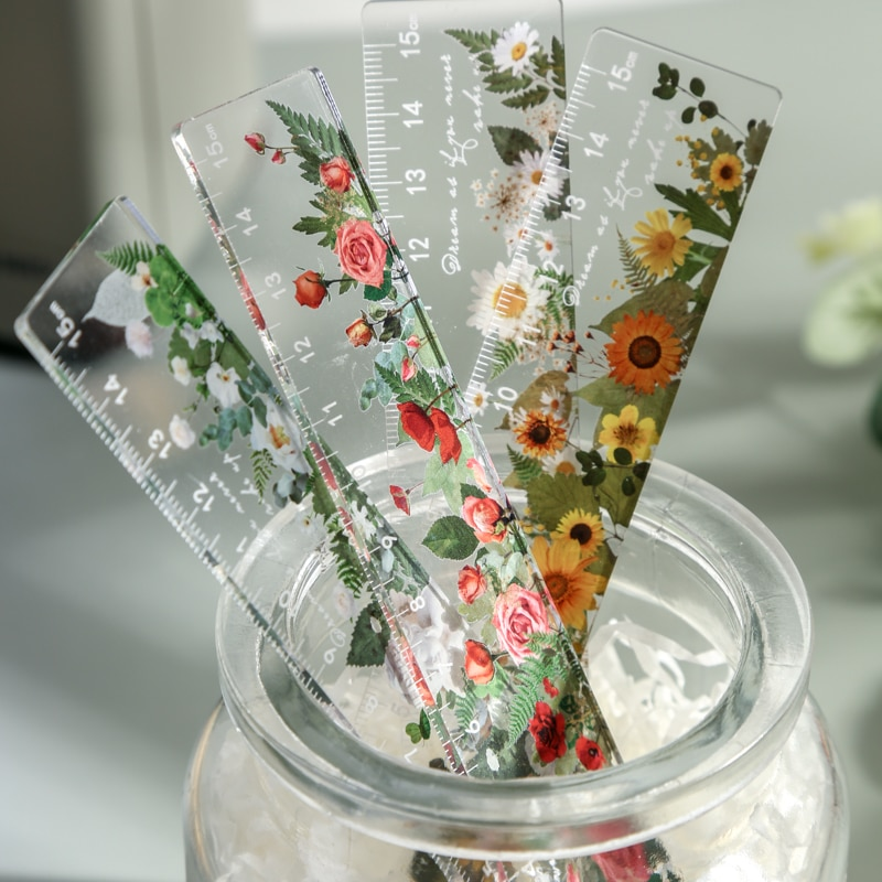 15 cm Daisy rose Plastic Straight Rulers Kawaii School Office Supplies Planner Accessories Student Prize