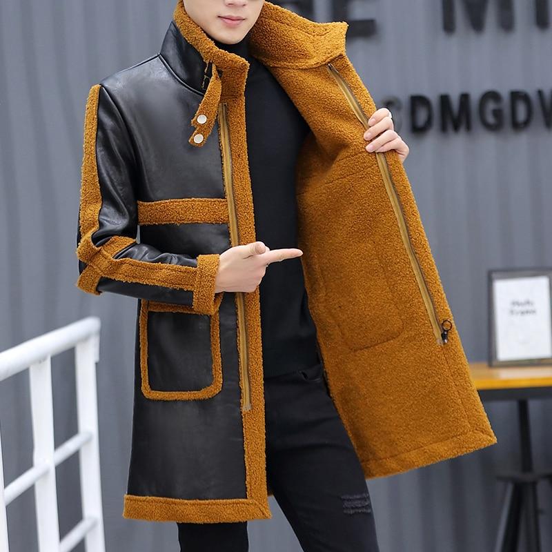 Leather Brand Faux Jackets Men Mid-length Coat Autumn Winter Fleece Windbreaker Warm Trench Coats Ropa De Hombre M-4XL
