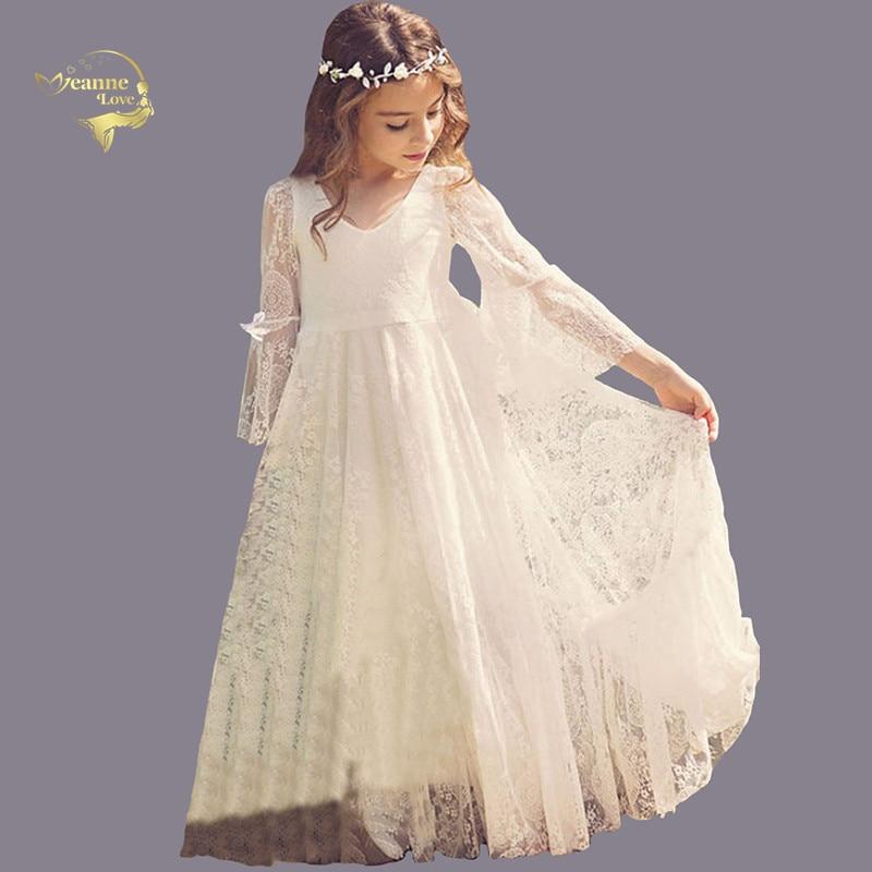 Недорогая детская официальная одежда, платья на день рождения для девочек, летние пляжные платья в стиле бохо с длинным рукавом и цветочным ...