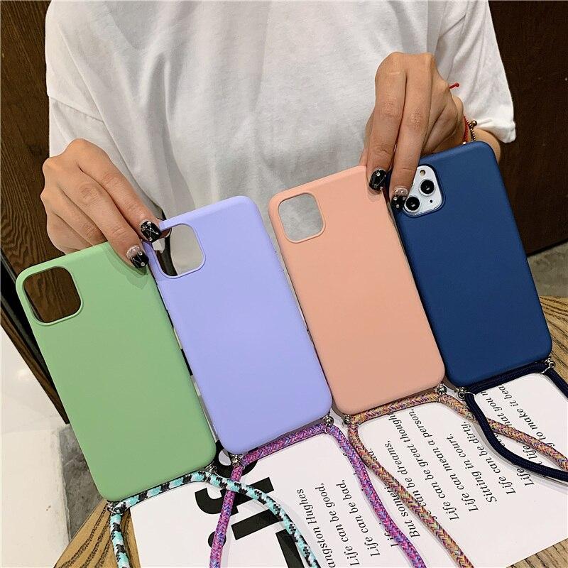 Candy farbe silikon telefon fall für samsung s8 9 10lite nette tpu back cover coque mit neck strap samsumg note8 10 A50 60 70