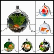 2020 / Fashion Charm Goldfish Aquarium Round Pendant Necklace, Men's and Women's Pendant Necklace