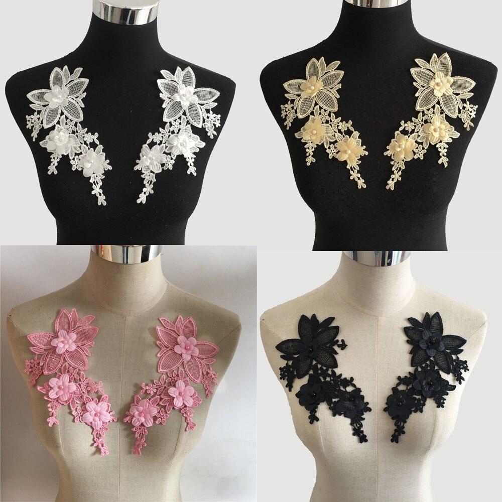 Tela con bordado de encajes de flores en 3D para vestidos, collar con encajes, adornos de perlas de ABS hazlo-tú-mismo, aplicación de materiales artesanales, accesorios de costura