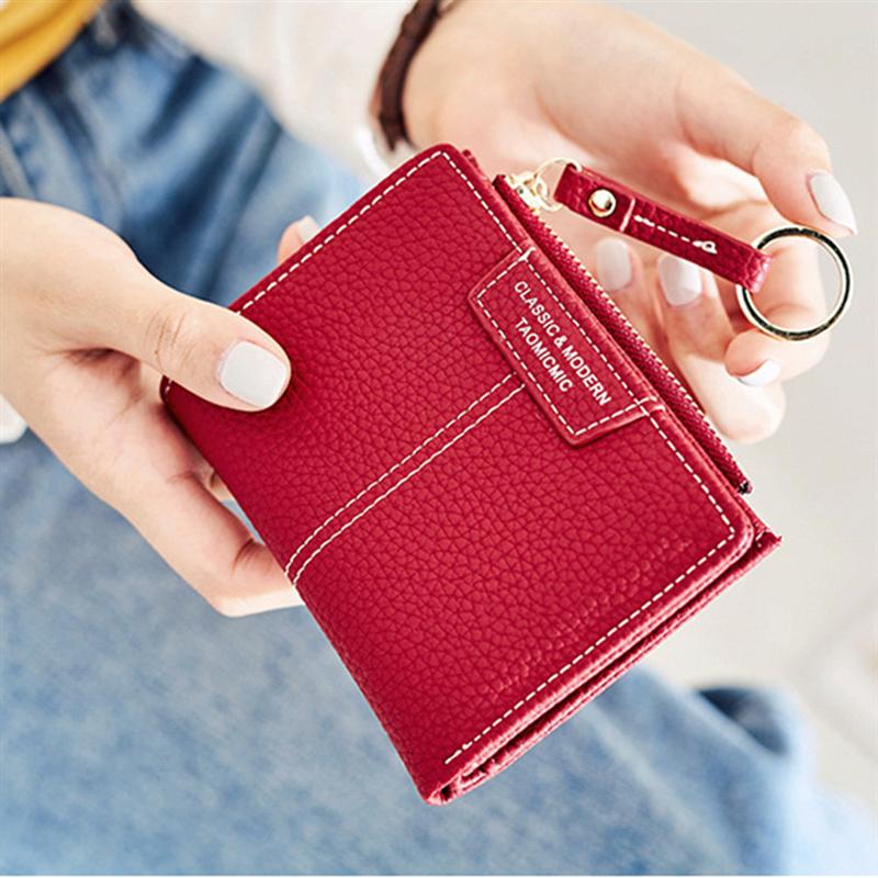 Korean Fashion 6-Colour Women Short PU Leather Wallets Zipper Hasp Female Coin Purses Money Card Hol