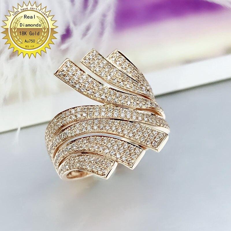 Anillo de oro de 18 quilates, anillo de compromiso y boda, anillo de diamante Natural Real de quilates, joyería con certificado