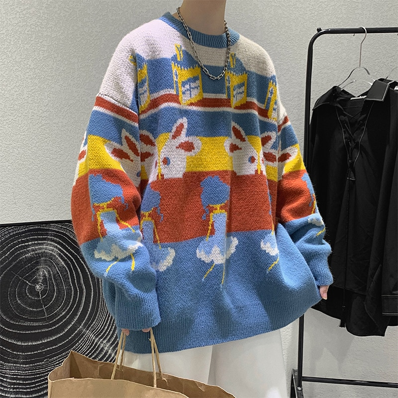 New Winter New Jacquard Sweater Men Clothing Fashion Knitted Sweaters for Men Pullovers Loose O-neck Long Sleeve Sweater