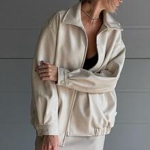 PU Jacket Women Western Style 2021 Autumn Winter New Solid Color Fashion Lapel Zipper Long Sleeve Ca