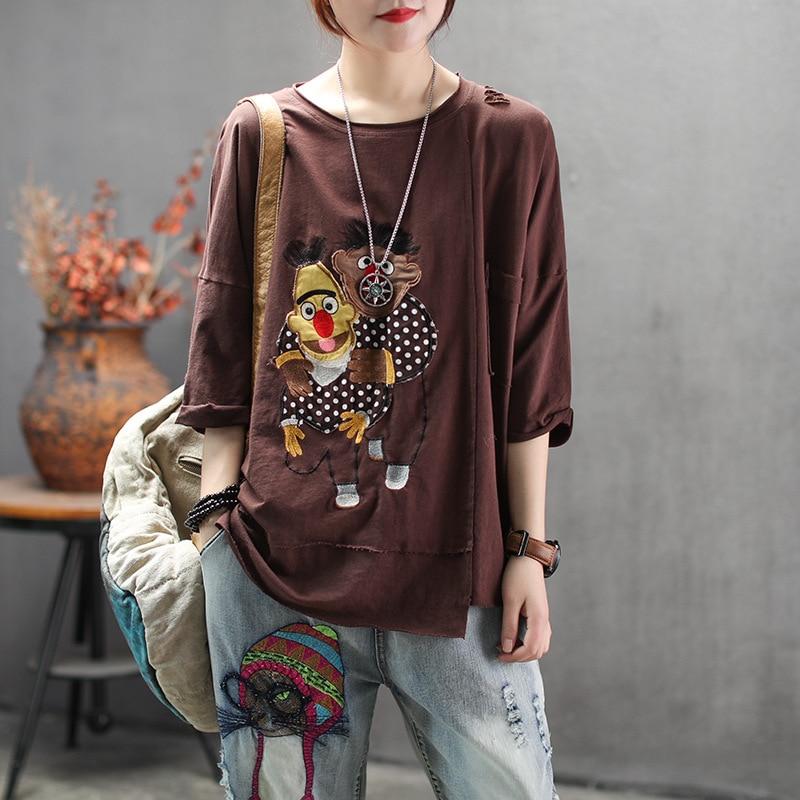 Mulheres verão marca de moda estilo coréia dos desenhos animados do vintage retalhos buraco meia manga camiseta feminina casual solto algodão t camisas