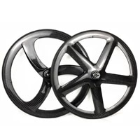 700c full carbon wheels front 3 spokes rear 5 spokes trackroad bike 12k glossy wheelset clincher tubular carbon wheels