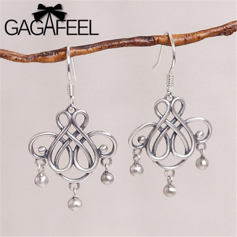 GAGAFEEL 100% S925 plata esterlina Retro pendientes borla nudo chino pendientes joyas étnicas para las mujeres