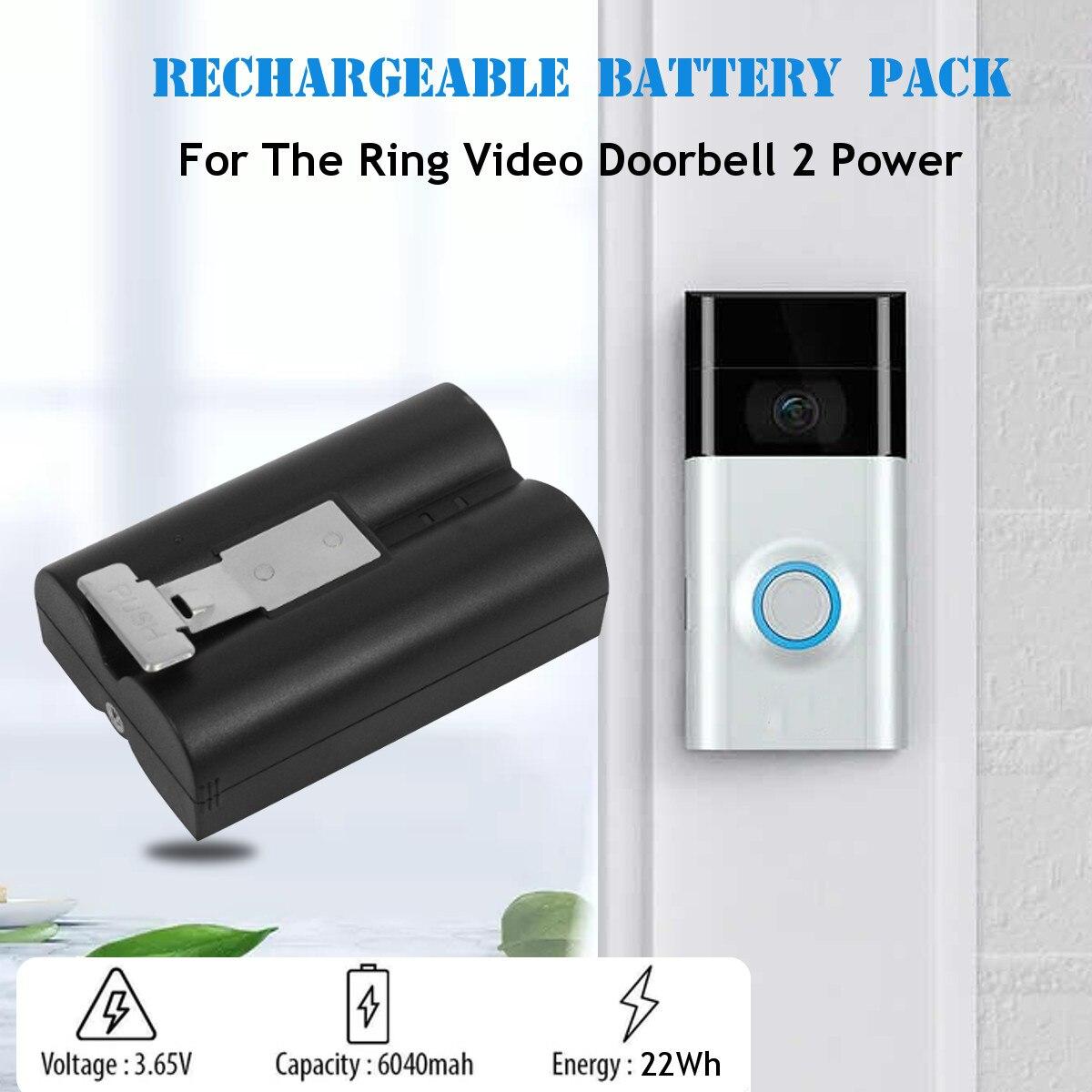 Bateria para anel de vídeo campainha 3.65 v micro usb carregamento atualizado cctv anel vara até cam seis meses fonte alimentação