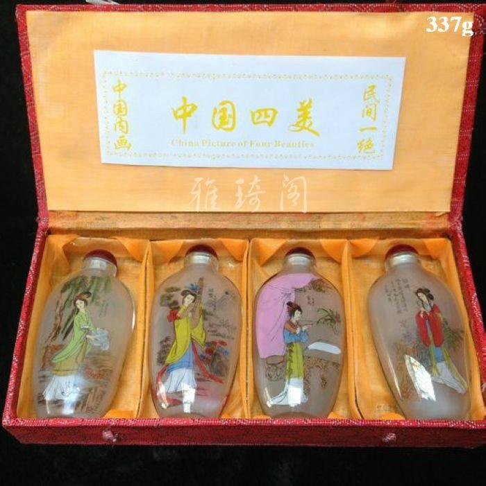 4 piezas China cuatro grandes hermosas mujeres pintura colección vidrio botella-pintura decoración...