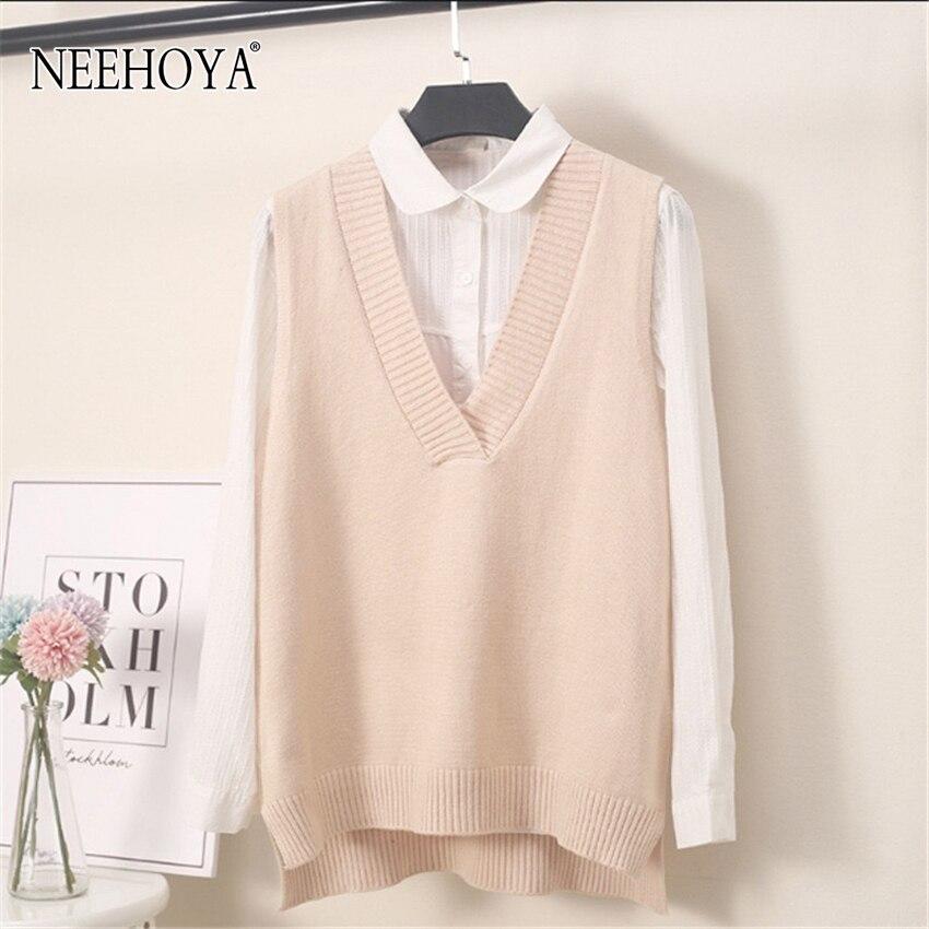 NEEHOYA knitted vest women sweater autumn winter v neck soild Sleeveless Pullover loose waistcoat chic Women's sweaters 2020