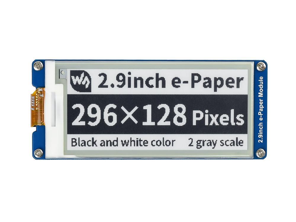 شاشة عرض حبر إلكتروني 2.9 بوصة 296 × 128 وحدة ورقية إلكترونية SPI تدعم التحديث الجزئي استهلاك طاقة منخفض للغاية زاوية مشاهدة واسعة