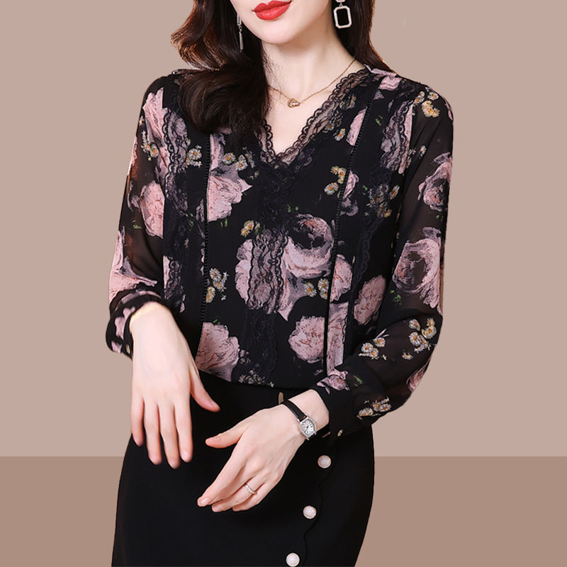 V-neck Blouse Women's Spring 2021 New Loose Lace Bottoming Shirt Long Sleeve Floral Shirt Blusas Plus Size 4XL