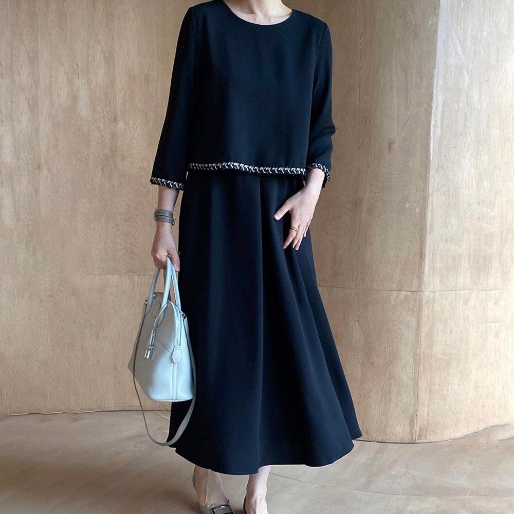 Women Elegance Fake Two-piece Mid Length Dress Fashion Long Sleeve Women Dark Blue Casual 2021 Autumn Winter New Women Dress