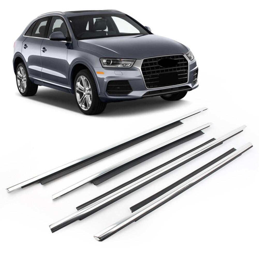 Para Audi Q3, cinturón de sellado de goma para puerta de coche, moldura burlete para ventana, moldura exterior, 4 unids/set, accesorios para automóvil cromados