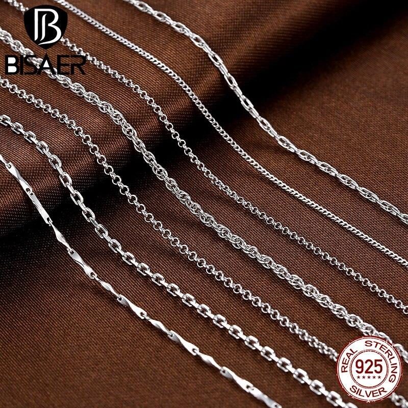 Colar de corrente de prata 925 prata esterlina lagosta fecho longo colares para mulheres moda colar conjunto de corrente jóias colares