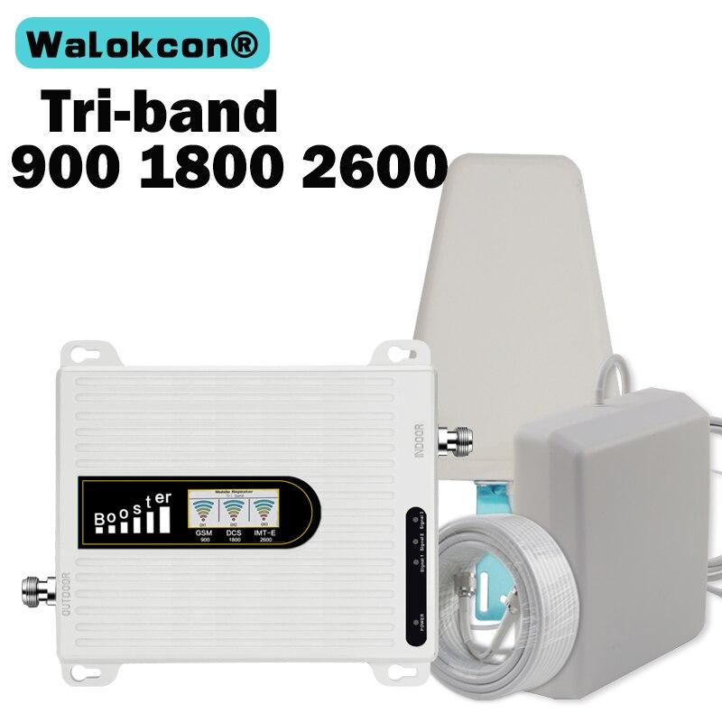 Repetidor 2019 2g + 4g + 4g LTE 1800 2600 B3 B7 GSM 900 amplificador de señal de Internet de teléfono móvil GSM repetidor Antena de telefono móvil 70dB