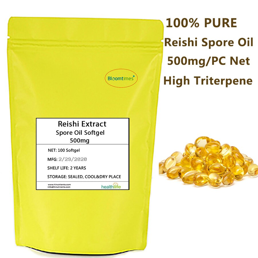 100% de aceite puro Reishi Softgel, 500mg, Contenido Neto, gran Triterpene, cápsula de aceite de Ganoderma Lucidum extragrande extraida