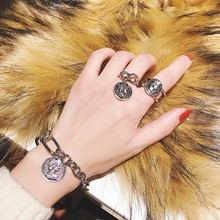Personalized Cold Style Ins Vintage Avatar Coin Pendant Bracelet Simple Beauty Head Ring Buckle Sets